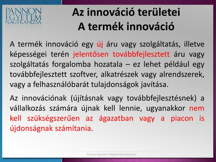 Az innováció területei