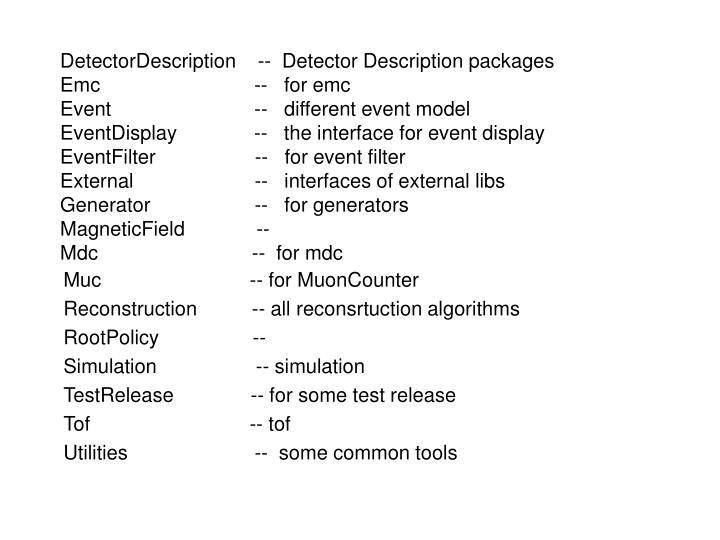 DetectorDescription    --  Detector Description packages