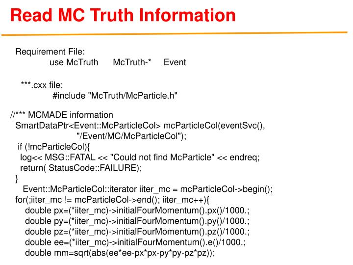 Read MC Truth Information