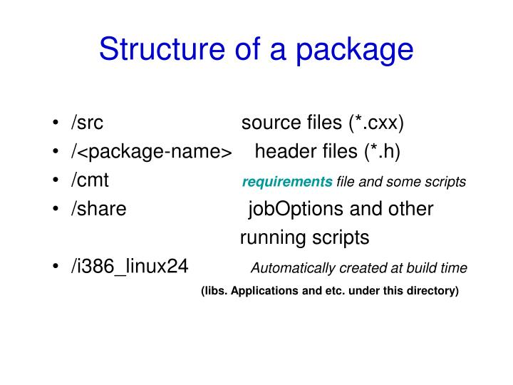 Structure of a package