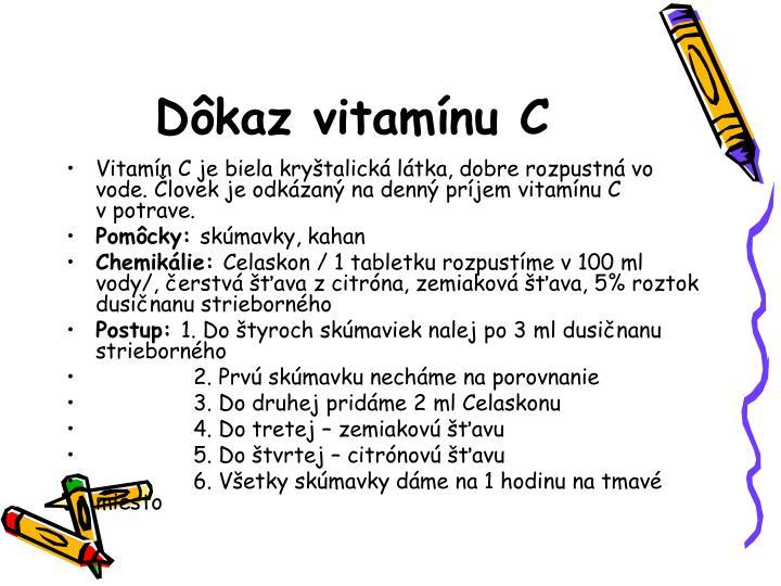 Dôkaz vitamínu C