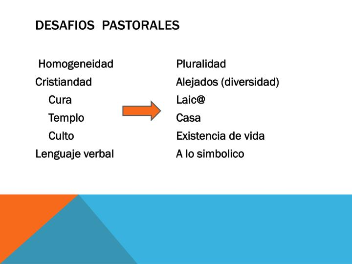 DESAFIOS  PASTORALES