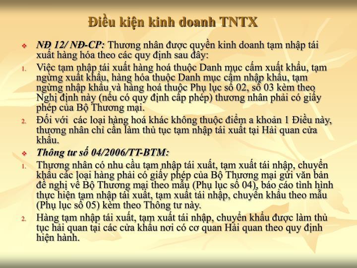Điều kiện kinh doanh TNTX