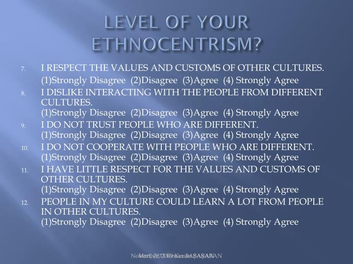 LEVEL OF YOUR ETHNOCENTRISM?