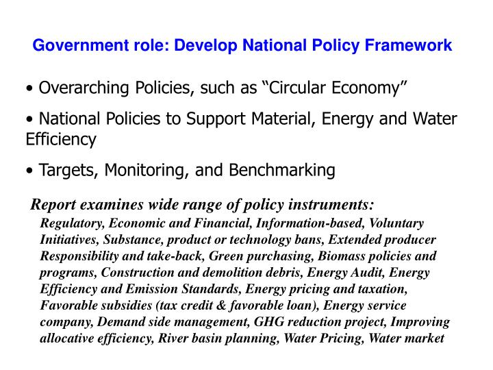 Government role: Develop National Policy Framework