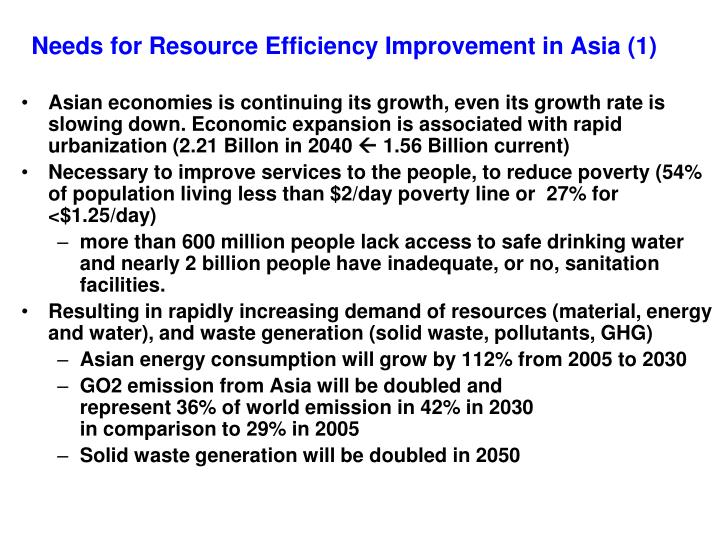 Needs for Resource Efficiency Improvement in Asia (1)