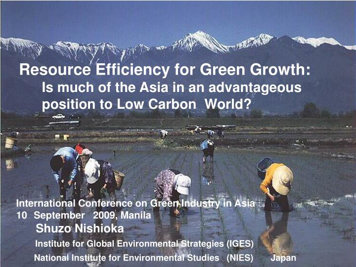 Resource Efficiency for Green Growth: