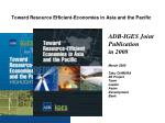 toward resource efficient economies in asia and the pacific
