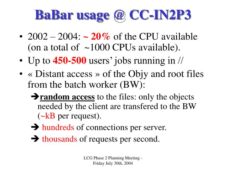 BaBar usage @ CC-IN2P3