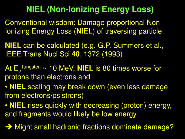 NIEL (Non-Ionizing Energy Loss)