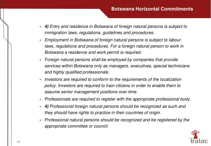 Botswana Horizontal Commitments