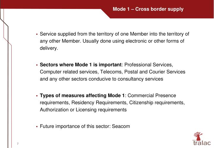 Mode 1 – Cross border supply