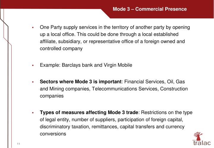 Mode 3 – Commercial Presence