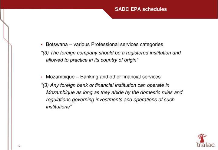 SADC EPA schedules