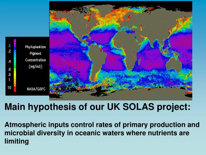 Main hypothesis of our UK SOLAS project: