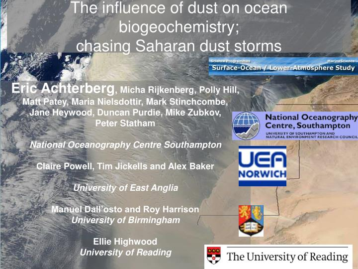The influence of dust on ocean biogeochemistry chasing saharan dust storms