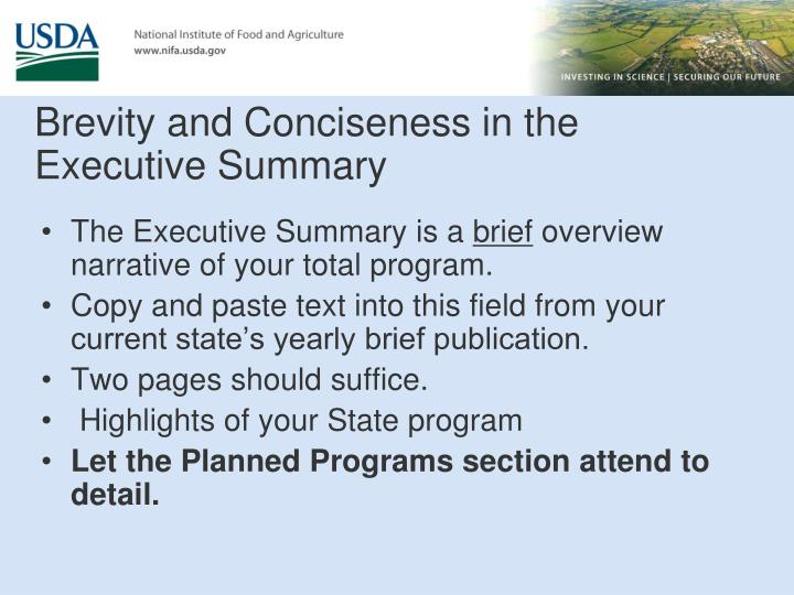 Brevity and Conciseness in the Executive Summary