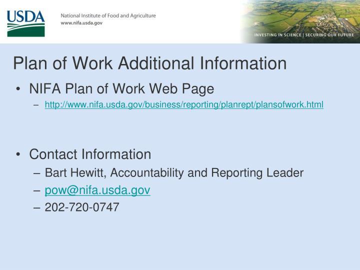 NIFA Plan of Work Web Page