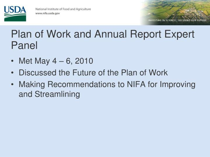 Plan of Work and Annual Report Expert Panel