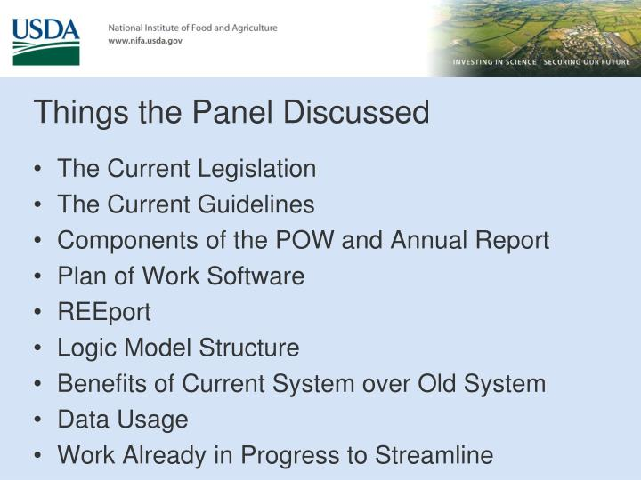 Things the Panel Discussed