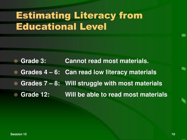 Estimating Literacy from Educational Level