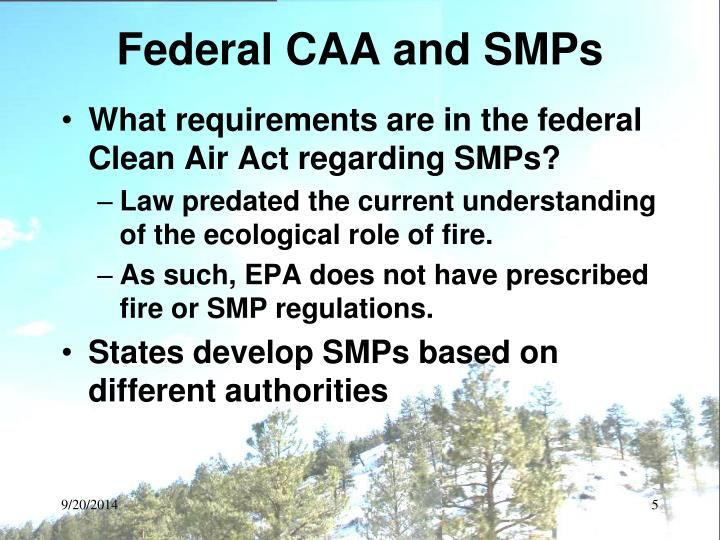 Federal CAA and SMPs