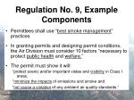 regulation no 9 example components