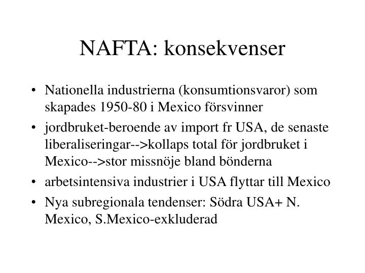 NAFTA: konsekvenser