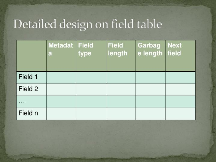 Detailed design on field table
