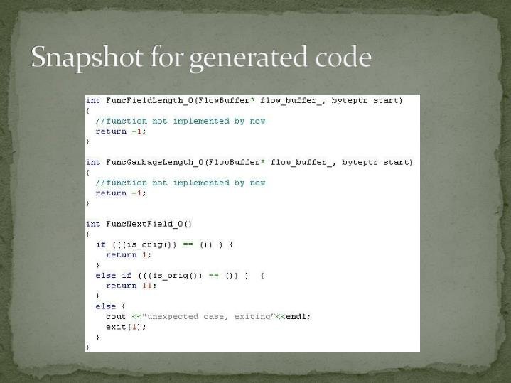 Snapshot for generated code