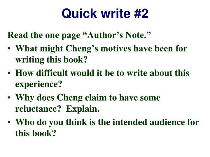 Quick write #2