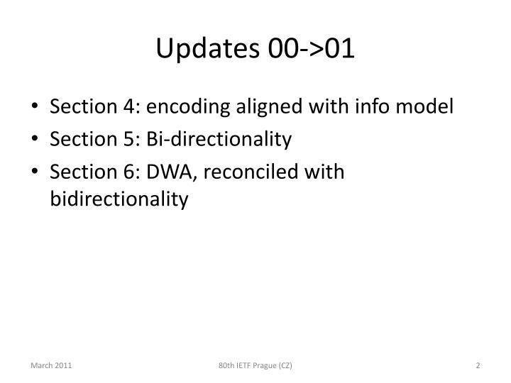 Updates 00->01