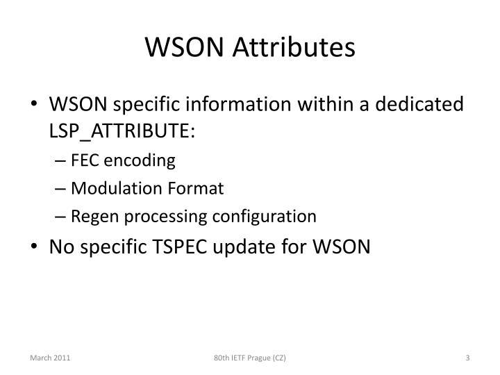 WSON Attributes