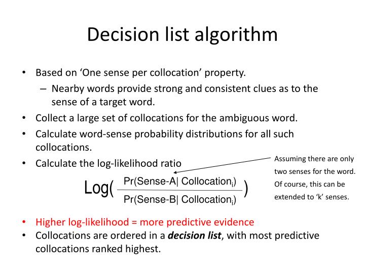 Decision list algorithm