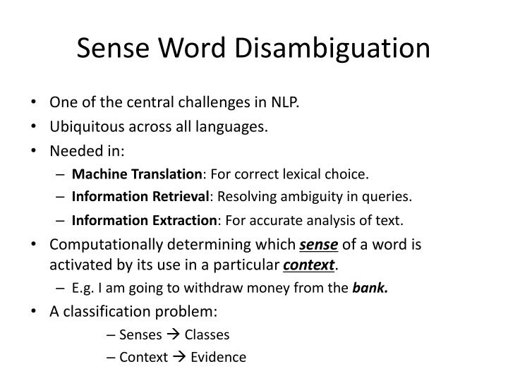 Sense word disambiguation