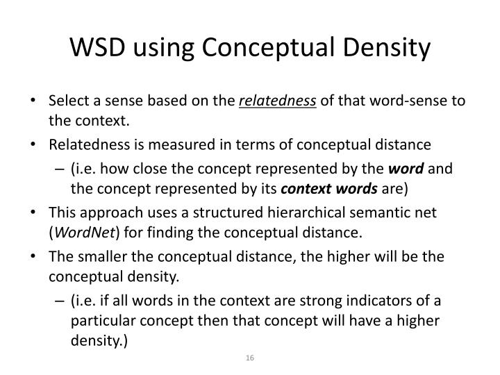 WSD using Conceptual Density