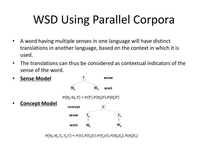 WSD Using Parallel Corpora