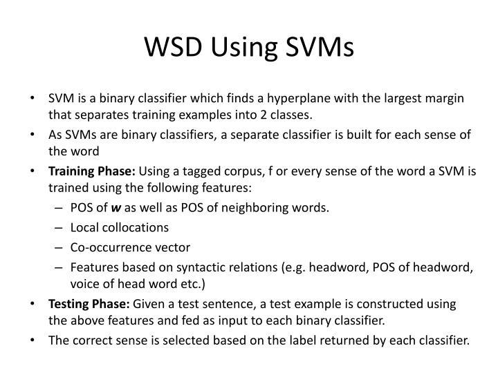 WSD Using SVMs