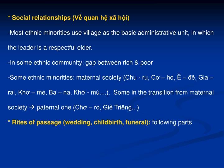 * Social relationships (Về quan hệ xã hội)