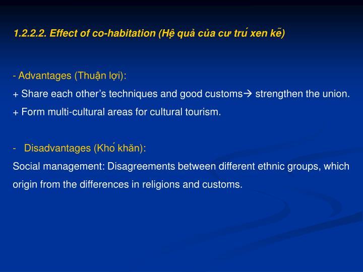 1.2.2.2. Effect of co-habitation (