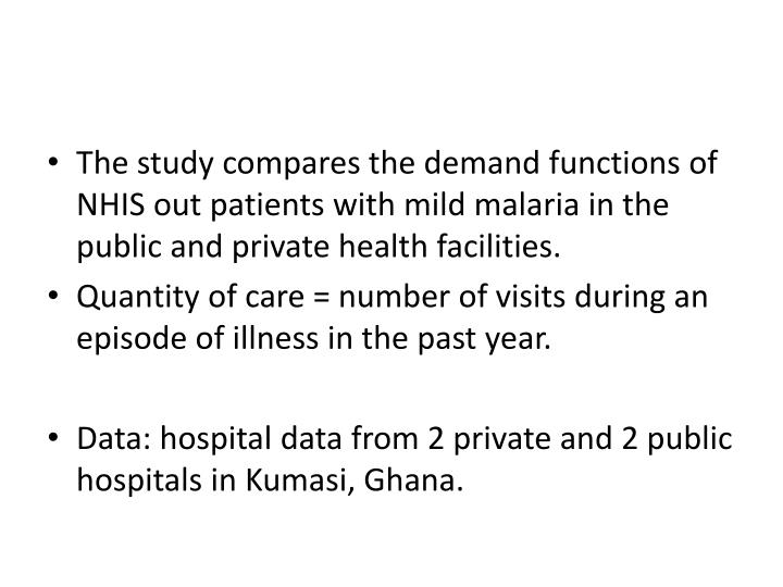 The study compares the demand functions of NHIS out patients with mild malaria in the public and private health facilities.