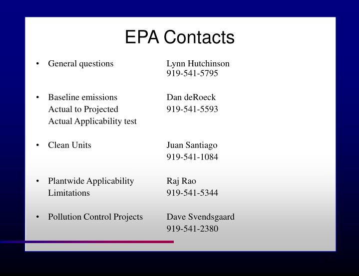 EPA Contacts