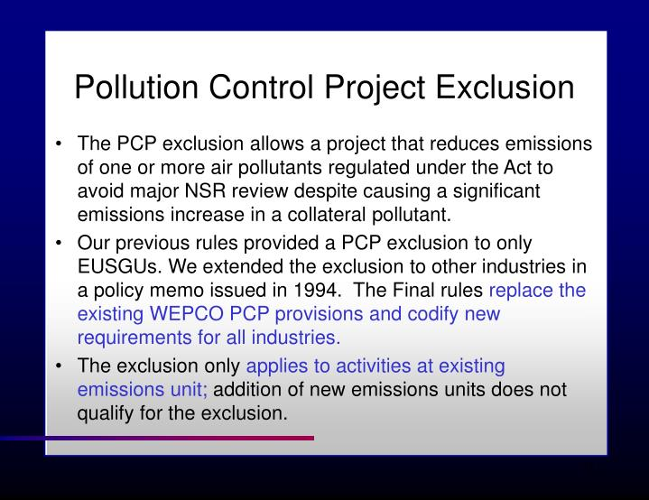 Pollution Control Project Exclusion