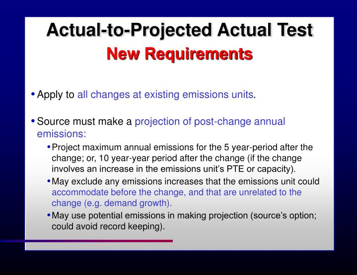 Actual-to-Projected Actual Test