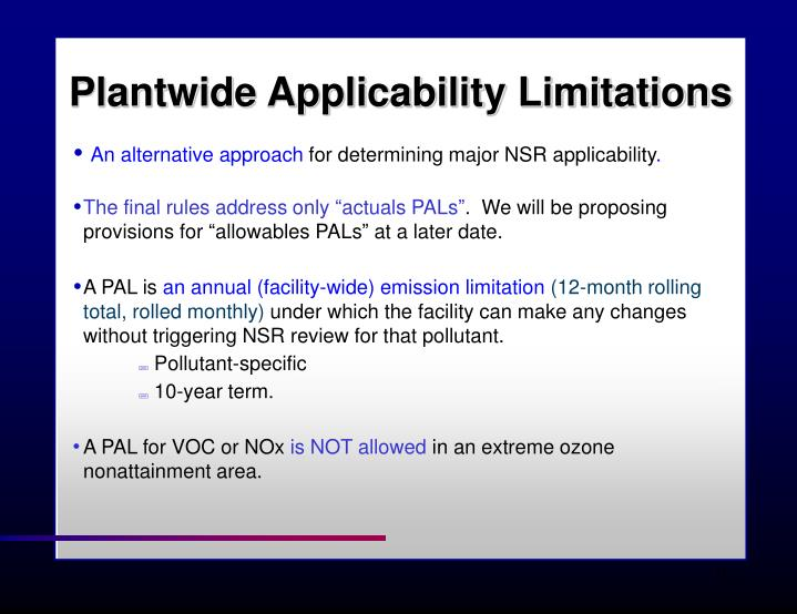 Plantwide Applicability Limitations