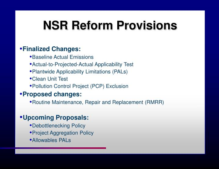 NSR Reform Provisions