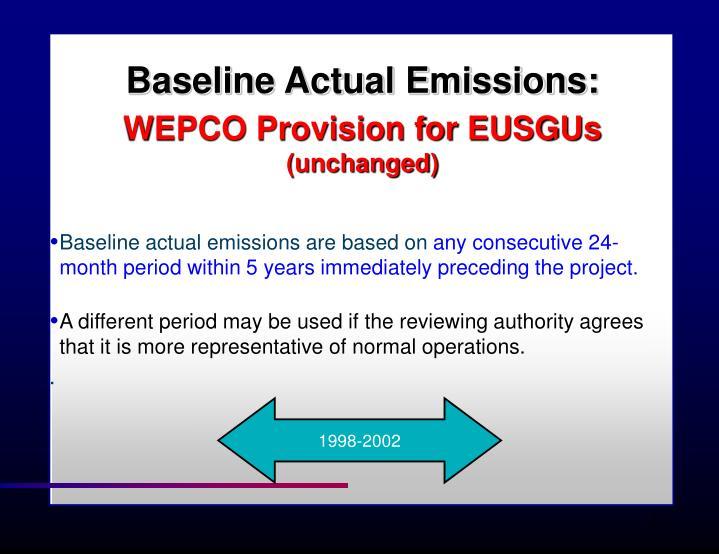 Baseline Actual Emissions: