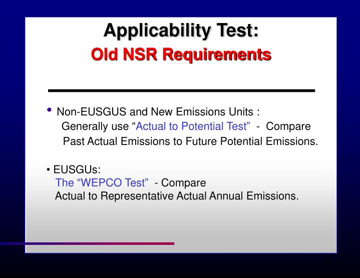 Applicability Test: