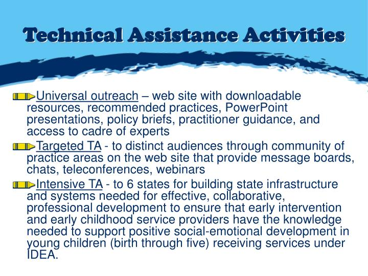 Technical Assistance Activities