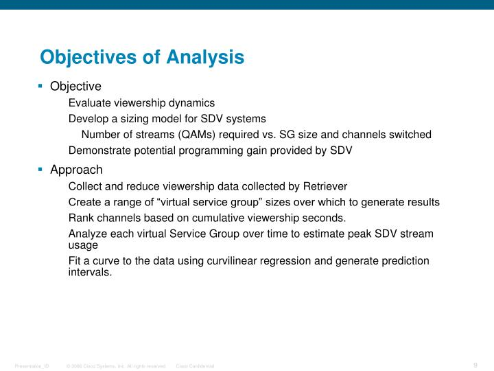 Objectives of Analysis